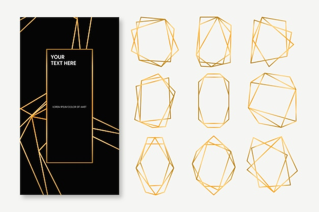 黄金の多角形フレームコレクション 無料ベクター
