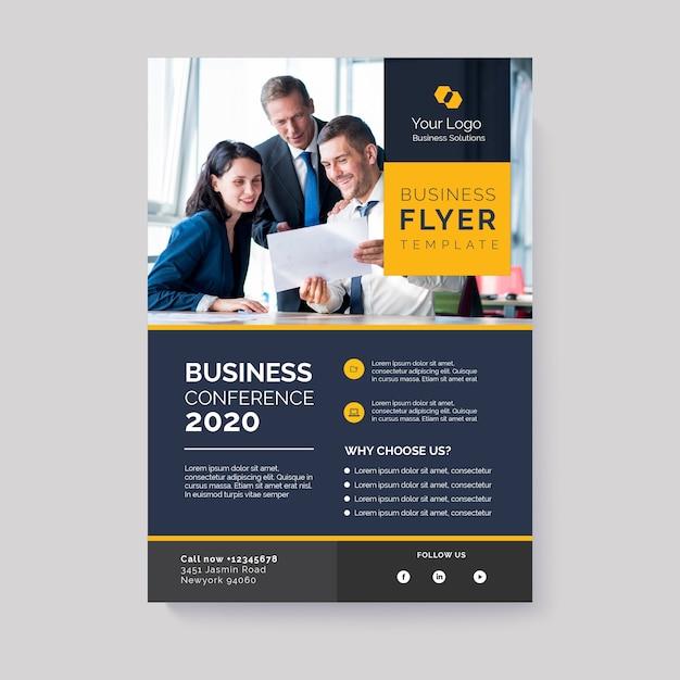 Бизнес флаер шаблон с изображением Бесплатные векторы