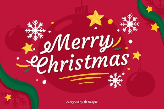 フラットなデザインの美しいクリスマスの背景 無料ベクター