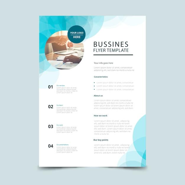 写真付きの抽象的なビジネスチラシテンプレート 無料ベクター