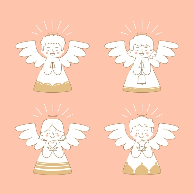 Плоский рождественский ангел Бесплатные векторы