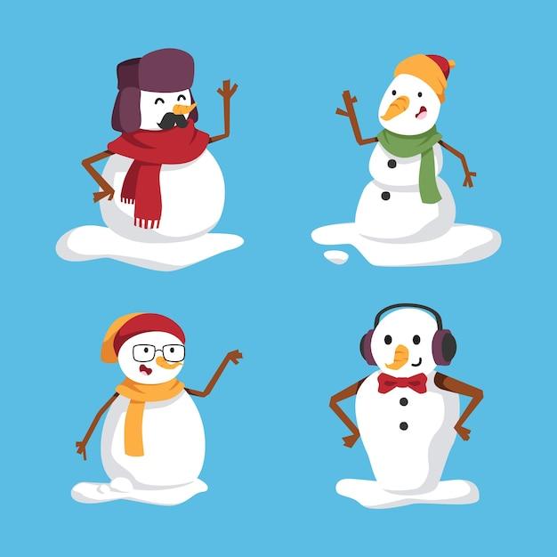 Сборник мультфильмов снеговик Бесплатные векторы