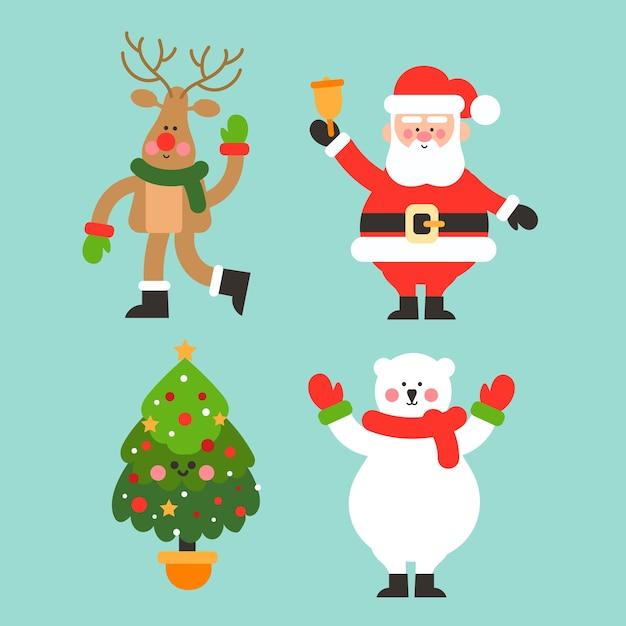 Рождественская коллекция персонажей в плоском дизайне Бесплатные векторы