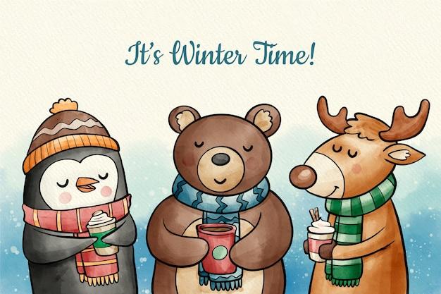 かわいい冬の動物の背景 無料ベクター
