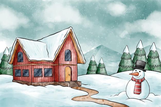 雪だるまと冬の背景 無料ベクター