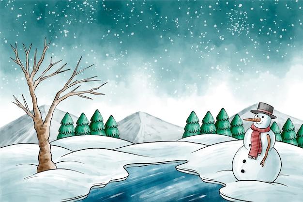 水彩冬の風景 無料ベクター