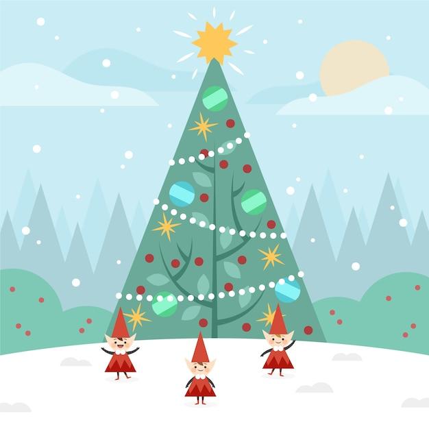 フラットなデザインのクリスマスツリーの背景色 無料ベクター