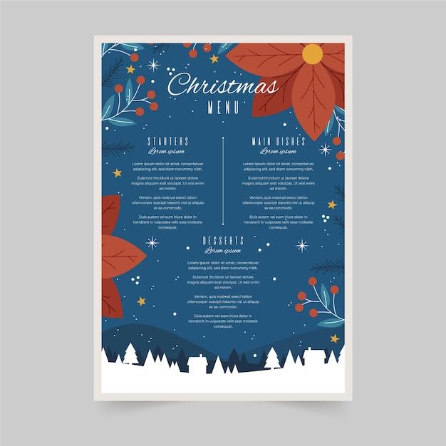 Нарисованный рукой шаблон меню рождества Бесплатные векторы