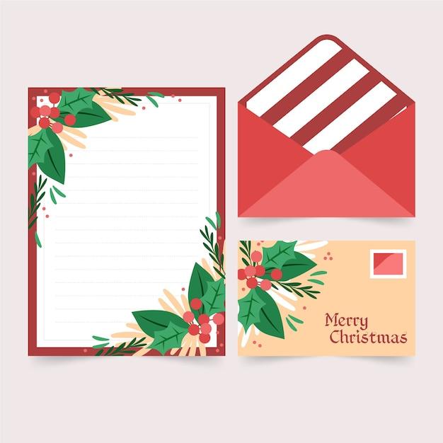 Плоский дизайн шаблона рождественские канцелярские товары Бесплатные векторы