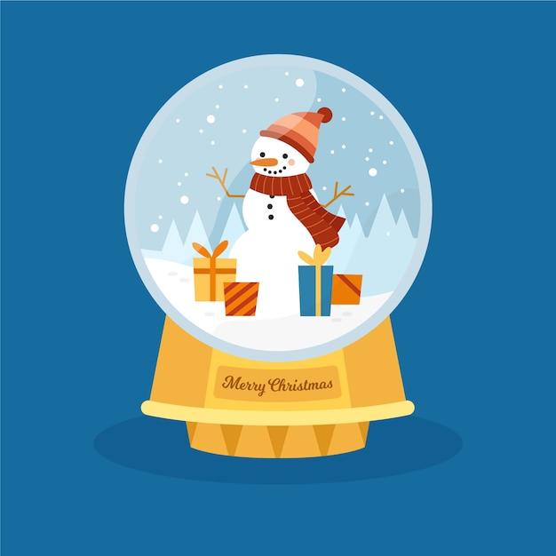 Ручной обращается рождественский снежный шар со снеговиком Бесплатные векторы