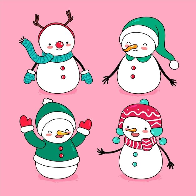 手描き雪だるまキャラクターセット 無料ベクター