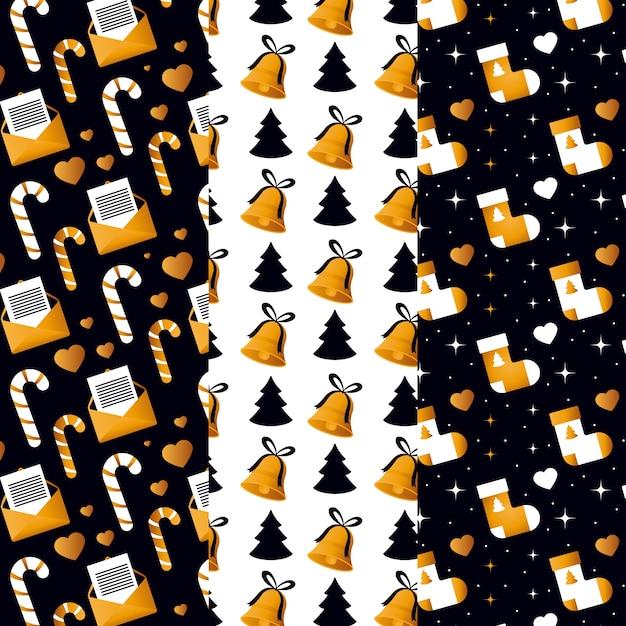 ブラック&ゴールデンクリスマスパターンコレクション 無料ベクター