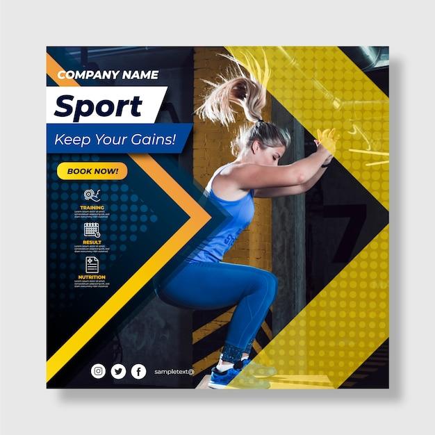 Спортивный флаер шаблон с фото Бесплатные векторы