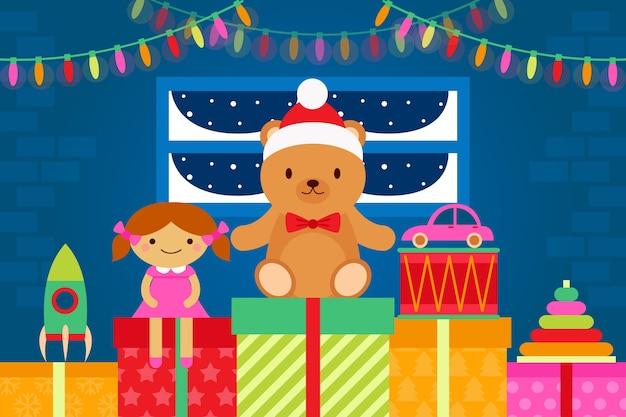 フラットなデザインのクリスマスのおもちゃの背景 無料ベクター