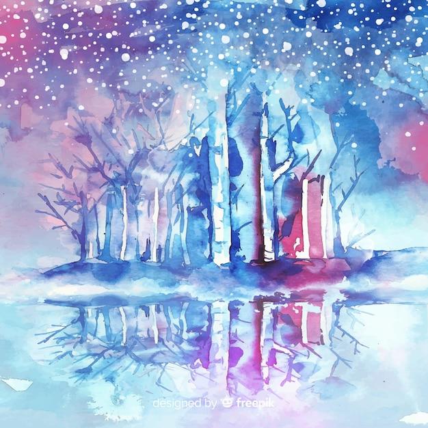 Снежная зима фон в акварели Бесплатные векторы