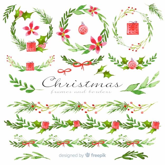 水彩のクリスマスフレームとボーダー 無料ベクター