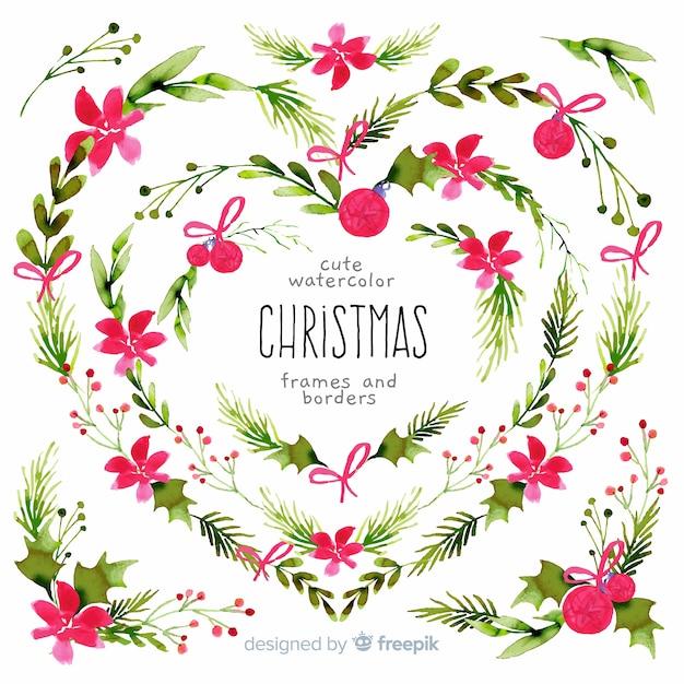 クリスマスフレームと水彩の境界線 無料ベクター