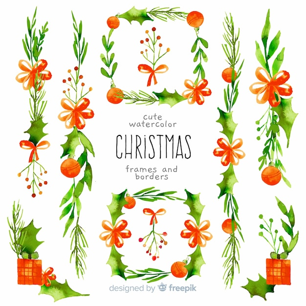 装飾クリスマスフレームとボーダー 無料ベクター