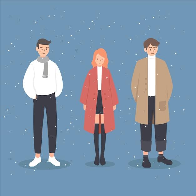 Плоские люди в зимней одежде Бесплатные векторы