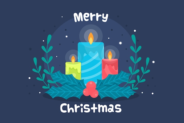 Плоский дизайн рождественская свеча фон Бесплатные векторы