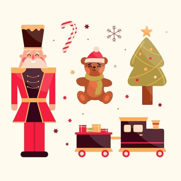 フラットなデザインのクリスマスグッズコレクション 無料ベクター