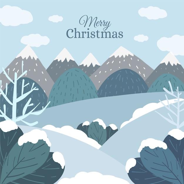 冬の風景の背景手描き 無料ベクター