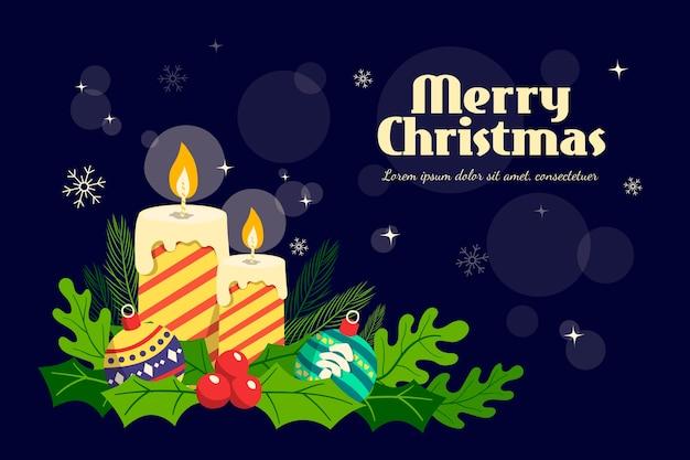 クリスマスの背景に手描きのキャンドル 無料ベクター