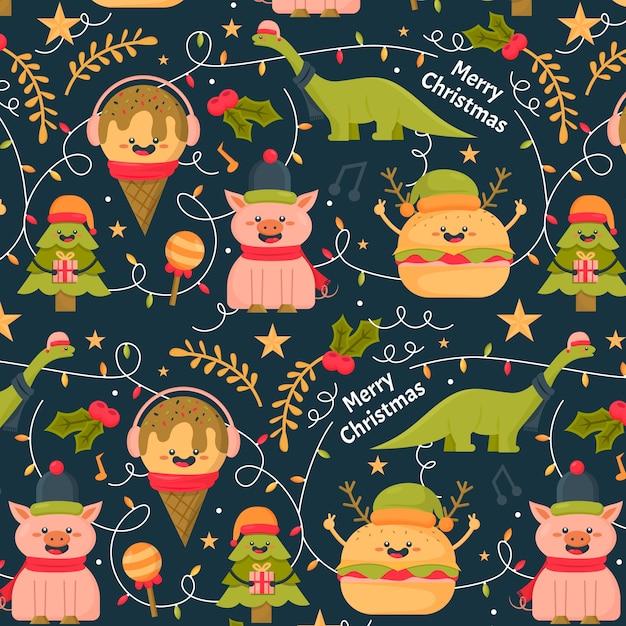 カラフルな面白いクリスマスのパターン 無料ベクター