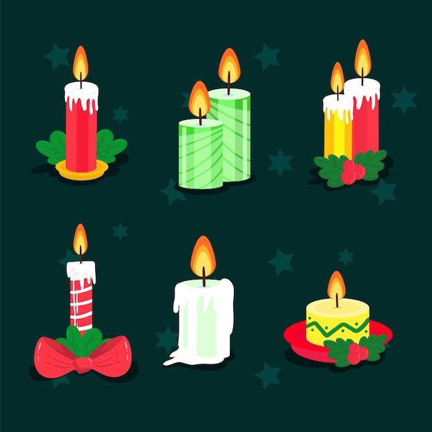 フラットなデザインのクリスマスキャンドルコレクション 無料ベクター