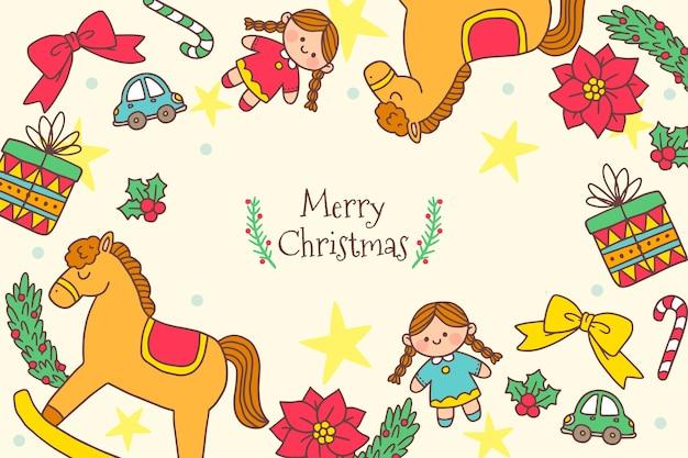 手描きのクリスマスのおもちゃの背景 無料ベクター