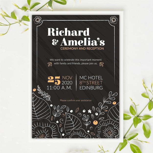 Старинные свадебные приглашения на доске шаблон Бесплатные векторы