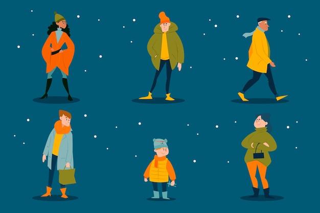 冬服セットを着ている人 無料ベクター