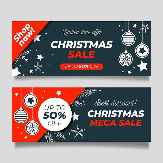 Новогодняя распродажа баннеров в плоском дизайне Бесплатные векторы