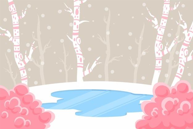 手描きの冬のコンセプト 無料ベクター