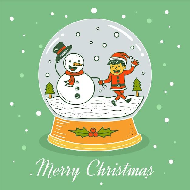 クリスマス雪玉グローブ手描き 無料ベクター