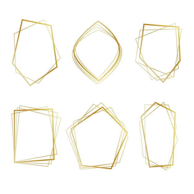 Золотая коллекция многоугольных кадров Бесплатные векторы