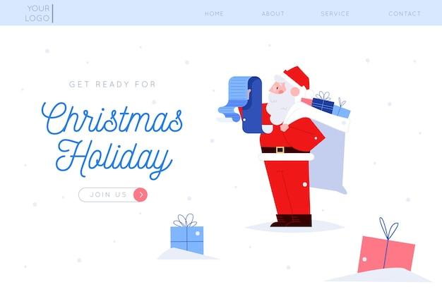 フラットデザインのクリスマスランディングページテンプレート 無料ベクター