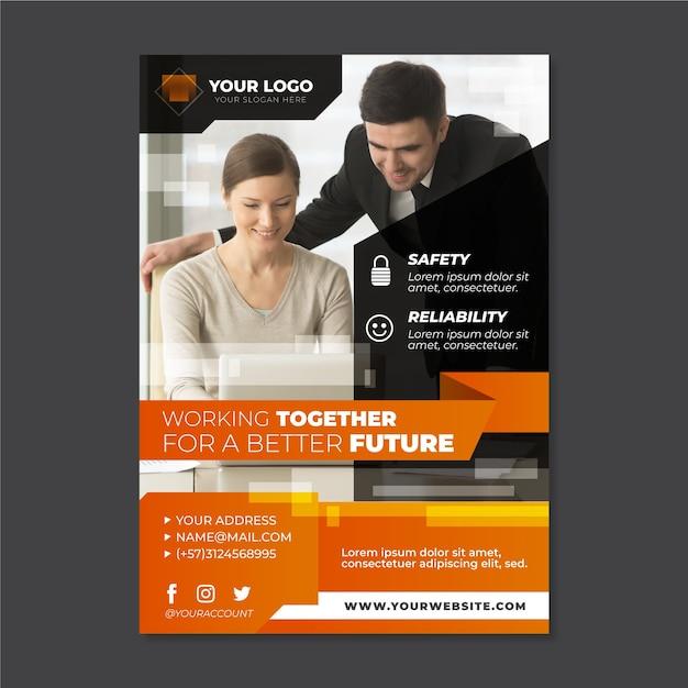 Абстрактный бизнес флаер с фотографией Бесплатные векторы