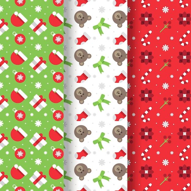 Плоский дизайн рождественская коллекция шаблонов Бесплатные векторы