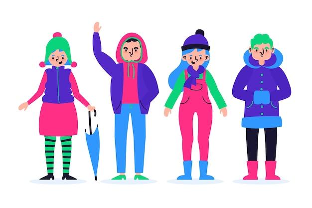 冬の服を着ている人のコレクション 無料ベクター