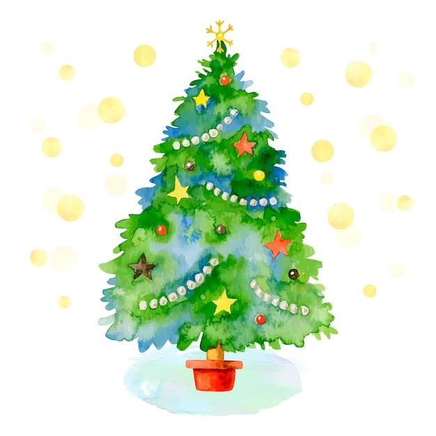 水彩でクリスマスツリーの概念 無料ベクター