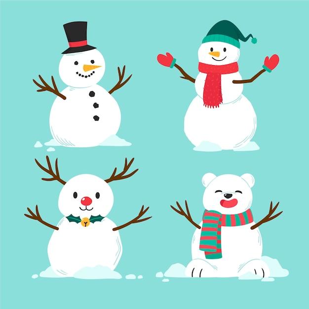 手描き雪だるまキャラクターコレクション 無料ベクター