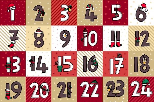 お祝いの手描きのアドベントカレンダー 無料ベクター