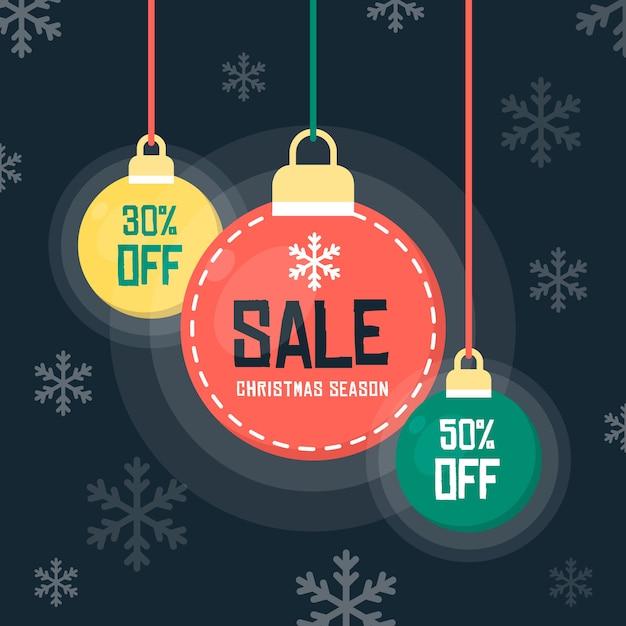 フラットなデザインのクリスマスセールのコンセプト 無料ベクター