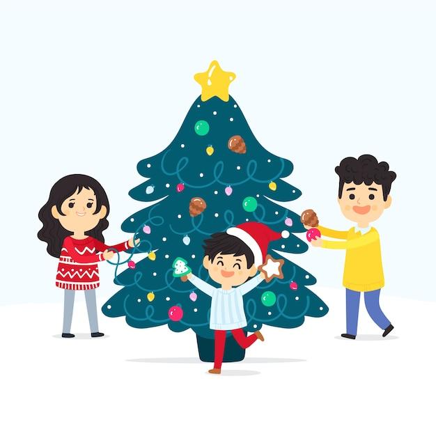 家族のクリスマスツリーを飾る 無料ベクター