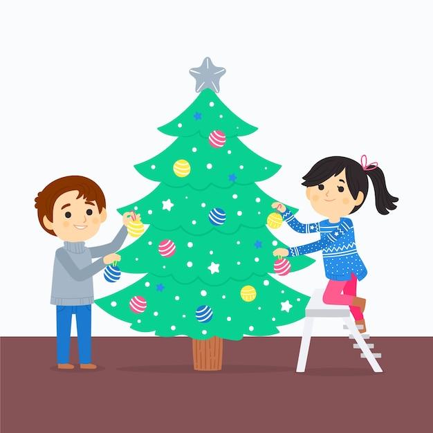 クリスマスツリーを飾る親友 無料ベクター