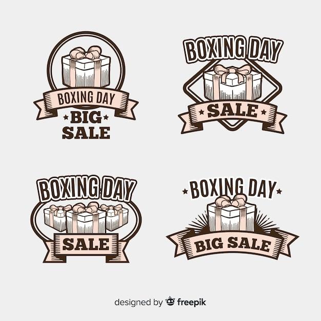 ビンテージボクシングデー販売バッジコレクション 無料ベクター