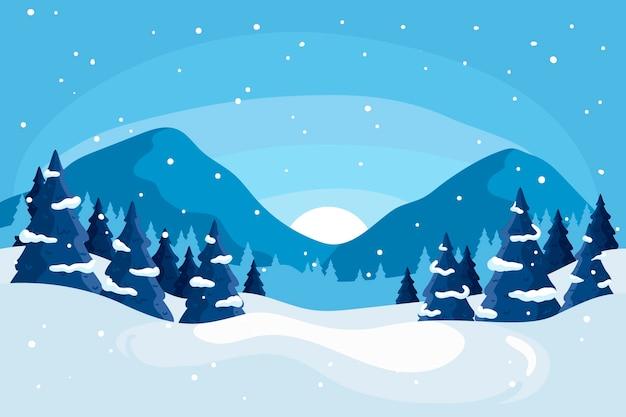 手描きの冬の風景のコンセプト 無料ベクター