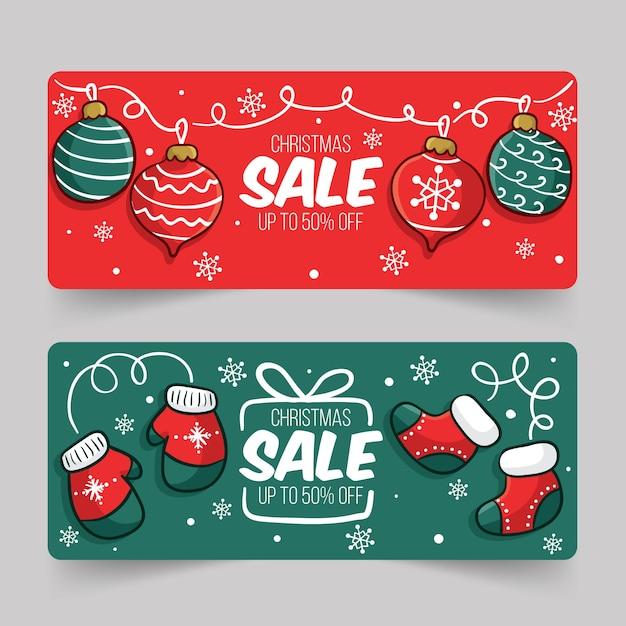 Ручной обращается рождественские продажи баннеров шаблон Бесплатные векторы