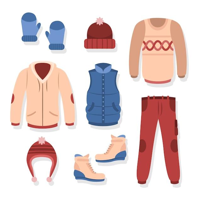 Плоский дизайн зимней теплой одежды Бесплатные векторы